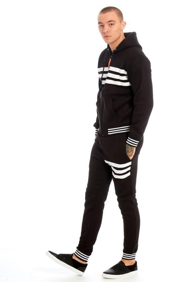 Black Trio Stripe Skinny Fit Tracksuit