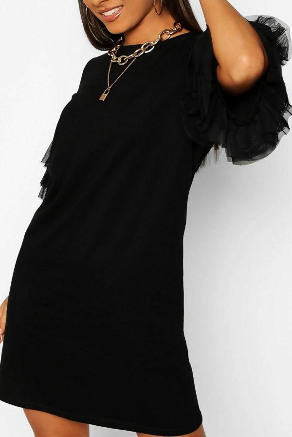Khaki Tulle Sleeve T-shirt Dress