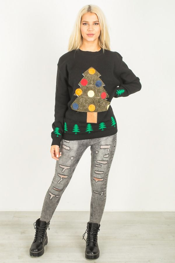 Black Unisex 3D Light Merry Christmas Tree Jumper