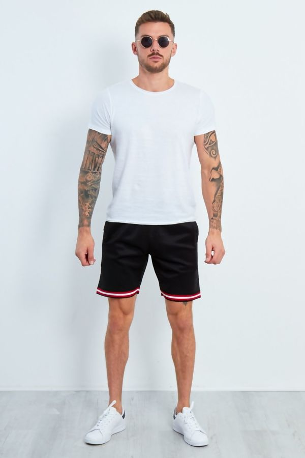 Black Urban Contrast Tape Short