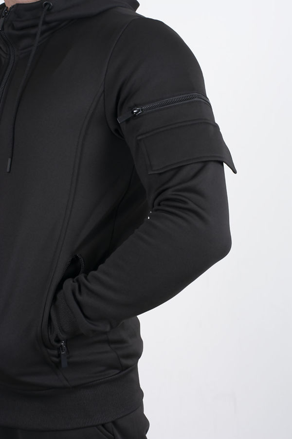 Black Utility Hooded Tracksuit With Zip Detail