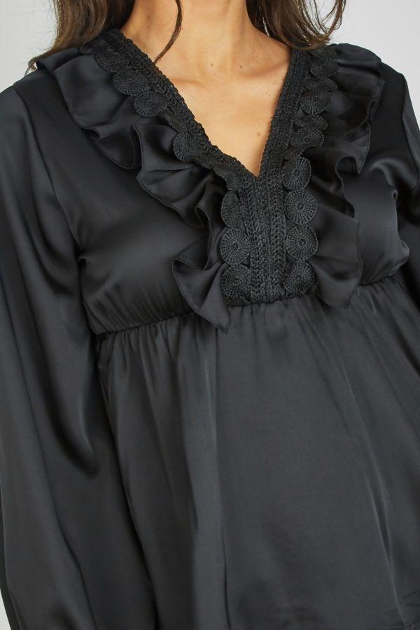 Black V Neck Crochet Ruffle Detail Blouse