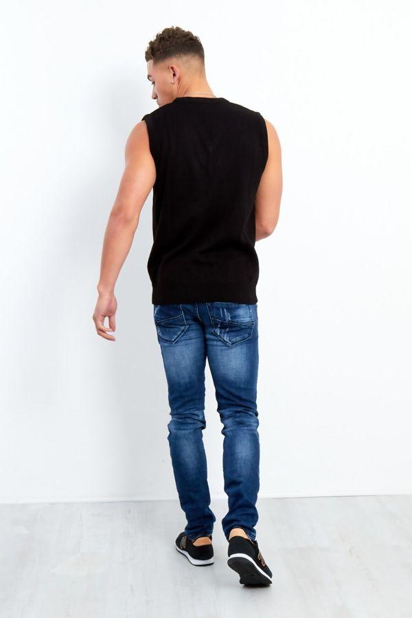 Black V-Neck Sleeveless Knitted Jumper