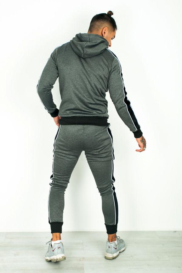 Black Velour Tape Panel Skinny Fit Tracksuit