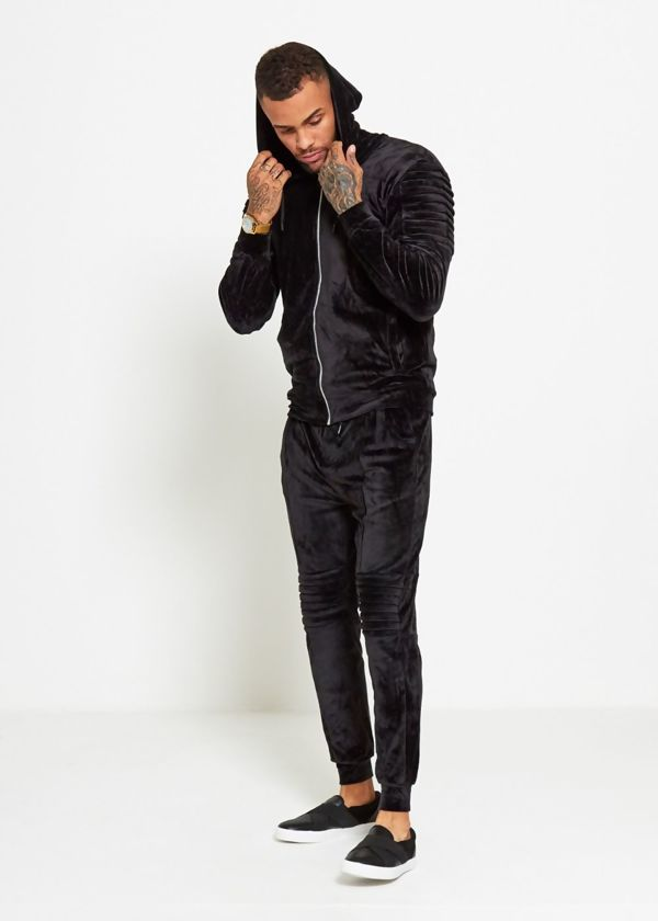 Black Velvet Biker Ribbed Padding Skinny Fit Tracksuit