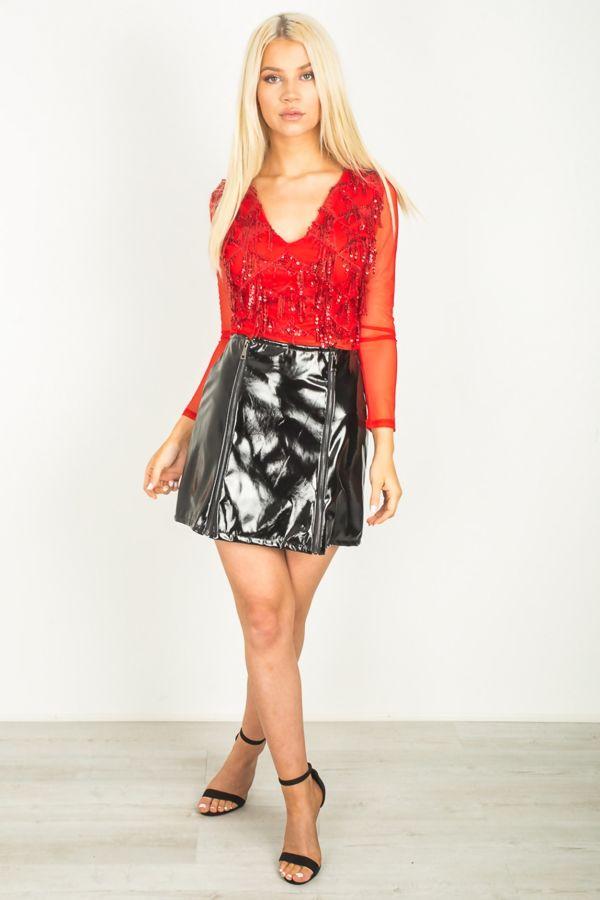 Black Vinly Mini Skirt