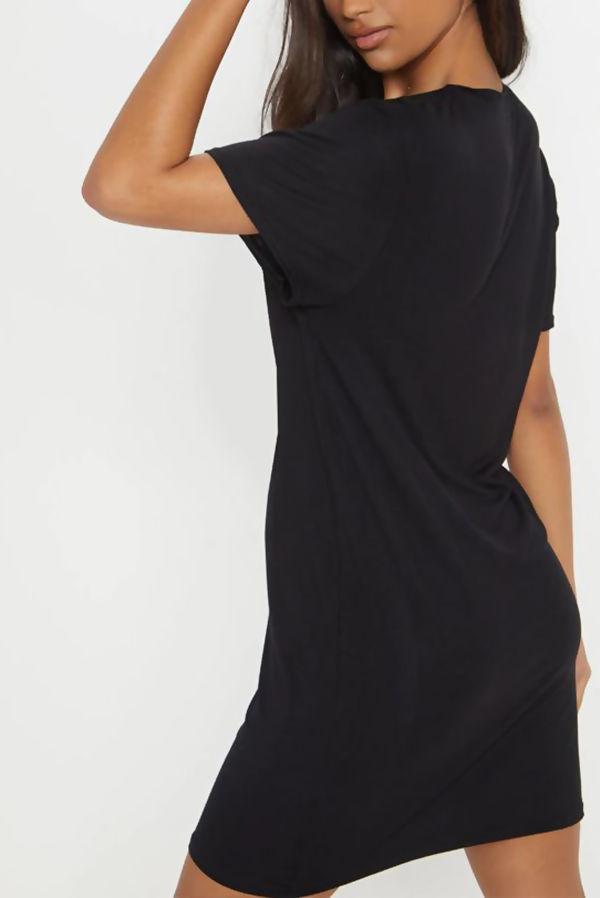 Black Vogue Slogan T-Shirt Dress