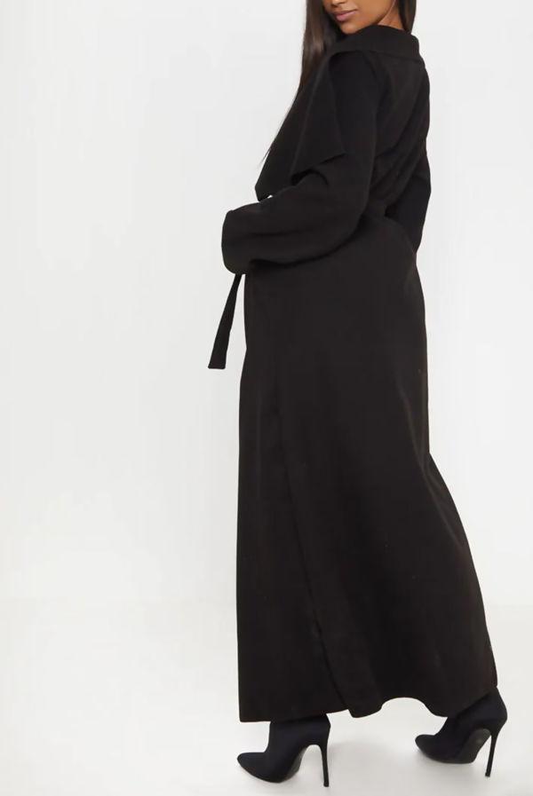 Black Waterfall Drapped Duster Maxi Coat