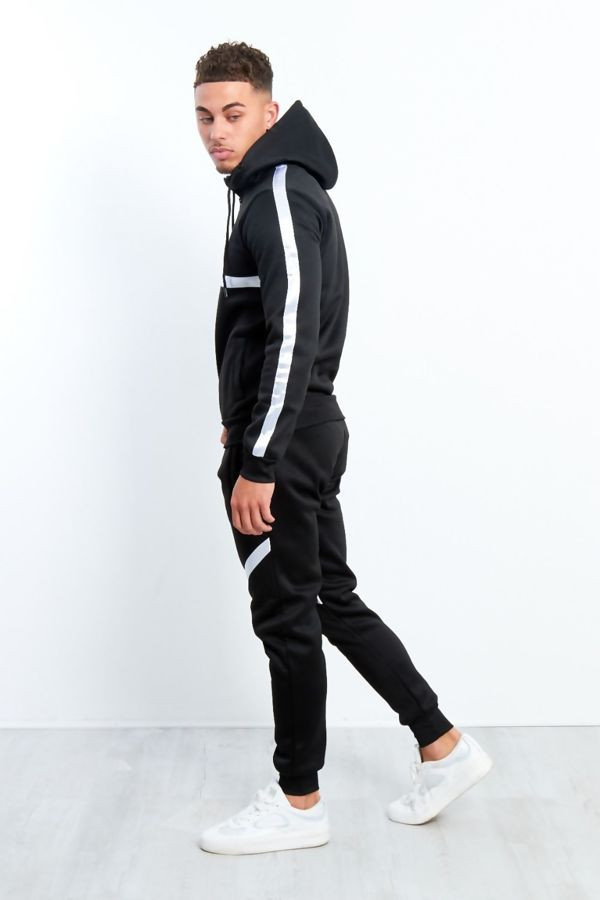 Black White Stripe Pull Through Hooded Tracksuit
