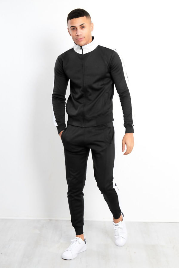 Black White Tape Funnel Skinny Fit Tracksuit