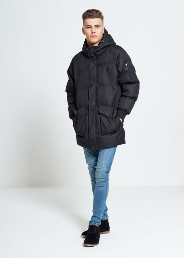 Black Windbreaker Quilted Coat