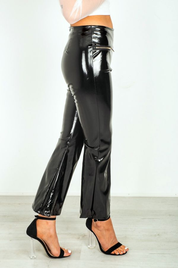 Black Winly Biker Zipper Trouser