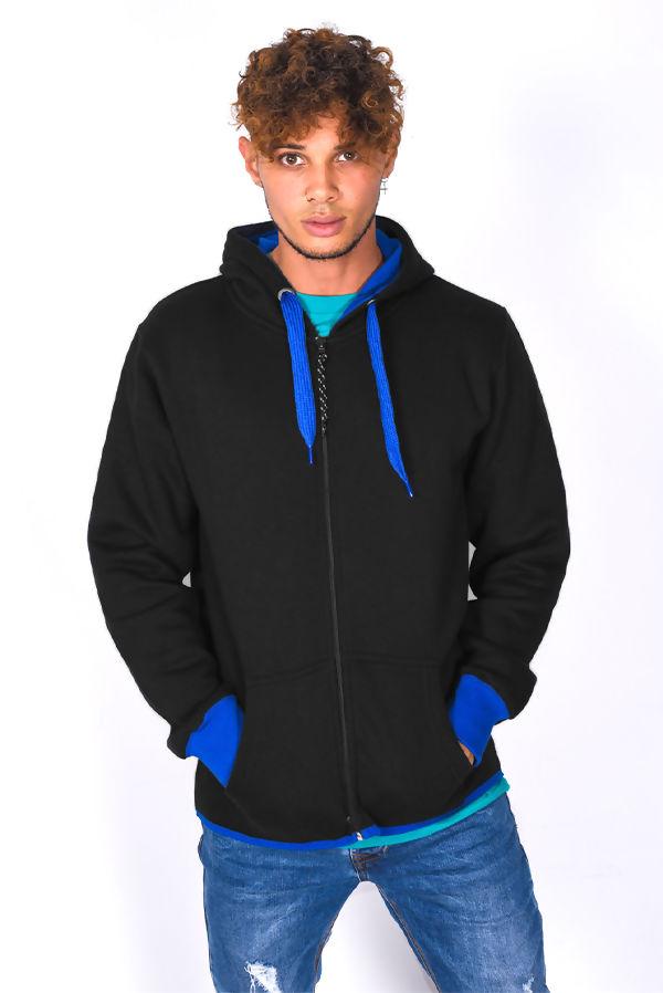 Black With Blue Contrast Zip Through Hoodie