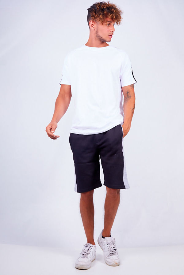 Black With Grey Contrast Jersey Shorts
