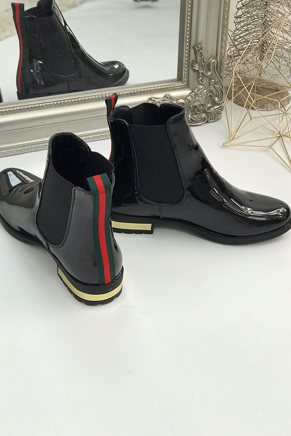 Black With Red and Green Stripe Patent Chelsea Boot