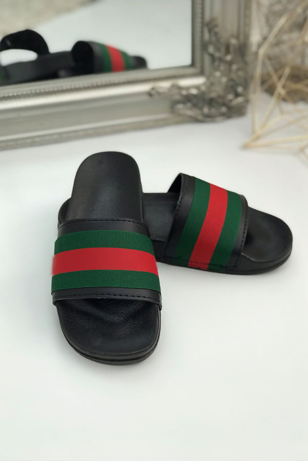 Black with Red and Green Stripe Sliders