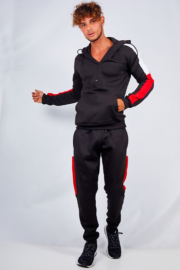 Black With Red And White Stripe Tracksuit
