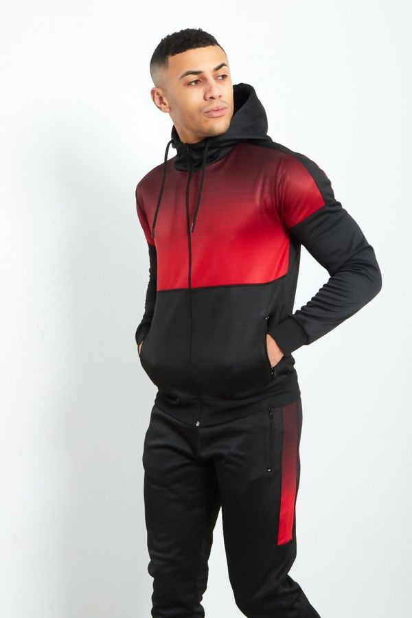 Black with Red Faded Funnel Hood Tracksuit