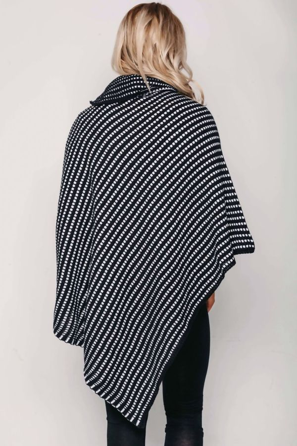 Black With Red Dot Detail Cable Knit Poncho