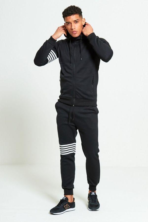 Black With White Stripes Skinny Tracksuit