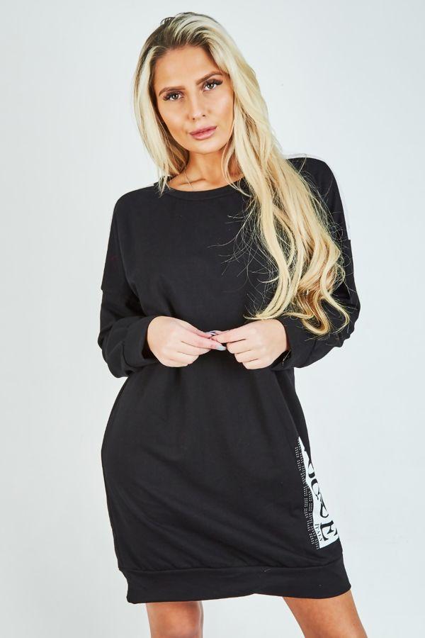 Black with White Vogue Sweat Shirt Dress