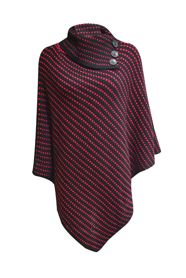 Black With Wine Dot Detail Cable Knit Poncho