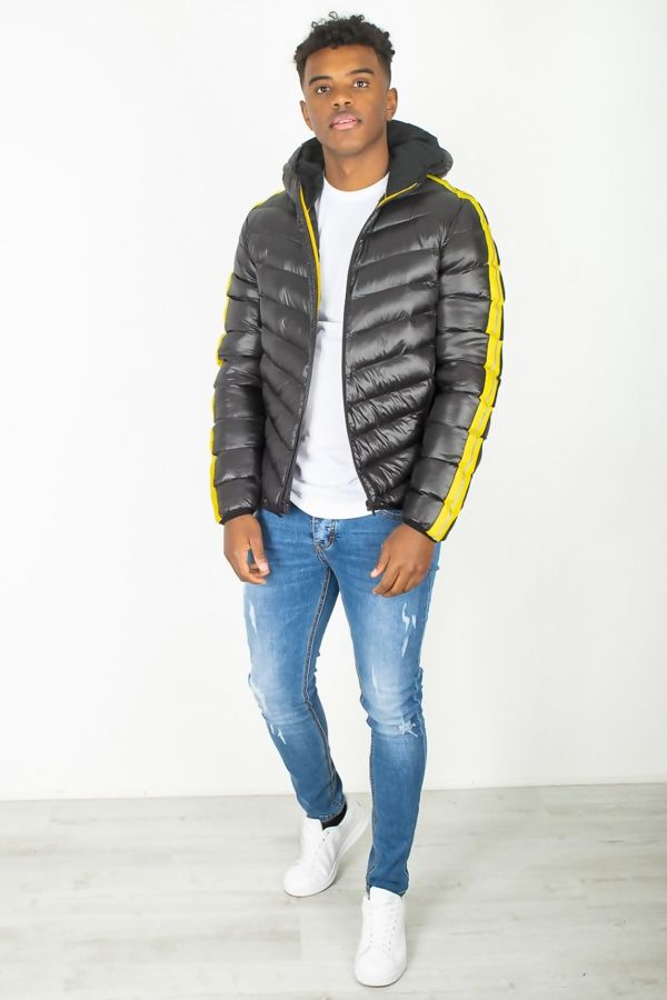 Black Yellow Reflector Stripe Hooded Puffer Jacket