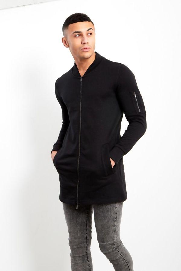 Black Zip Detail Longline Cardigan