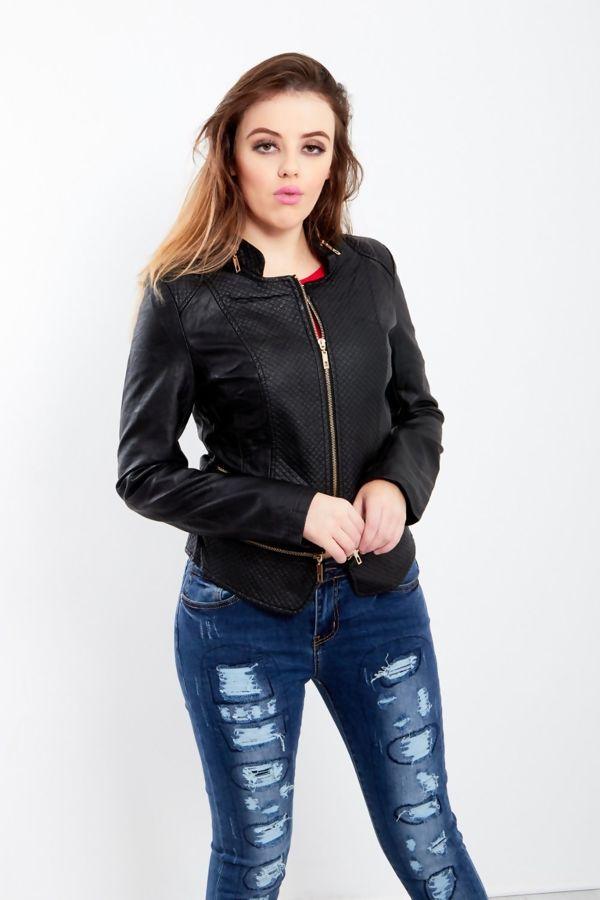 Black Zip Detail Quilted Biker Jacket