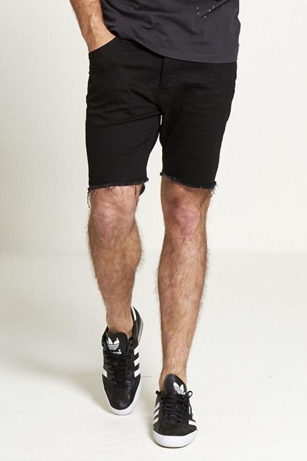 Black Zip Pocket Denim Shorts