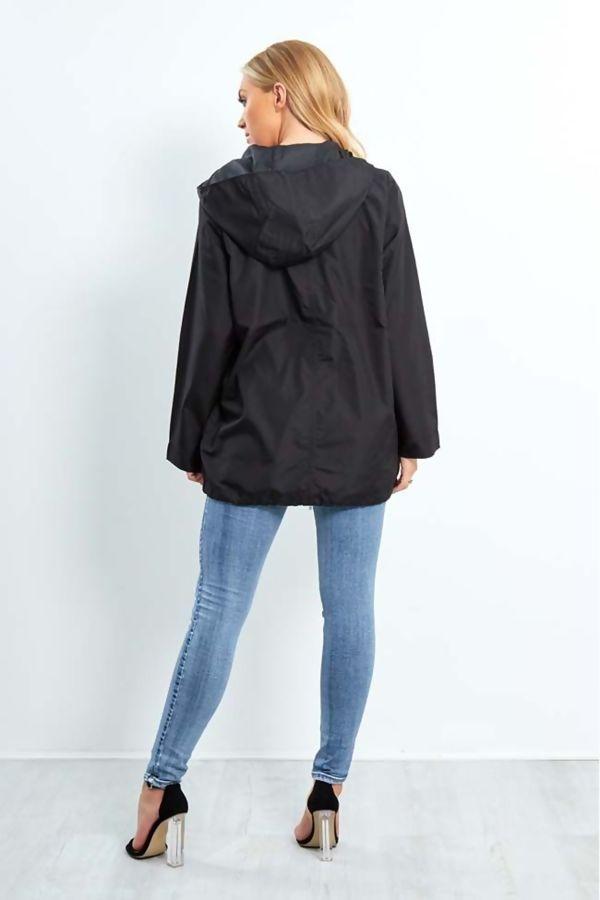 Black Zip Through Cagoule Raincoat
