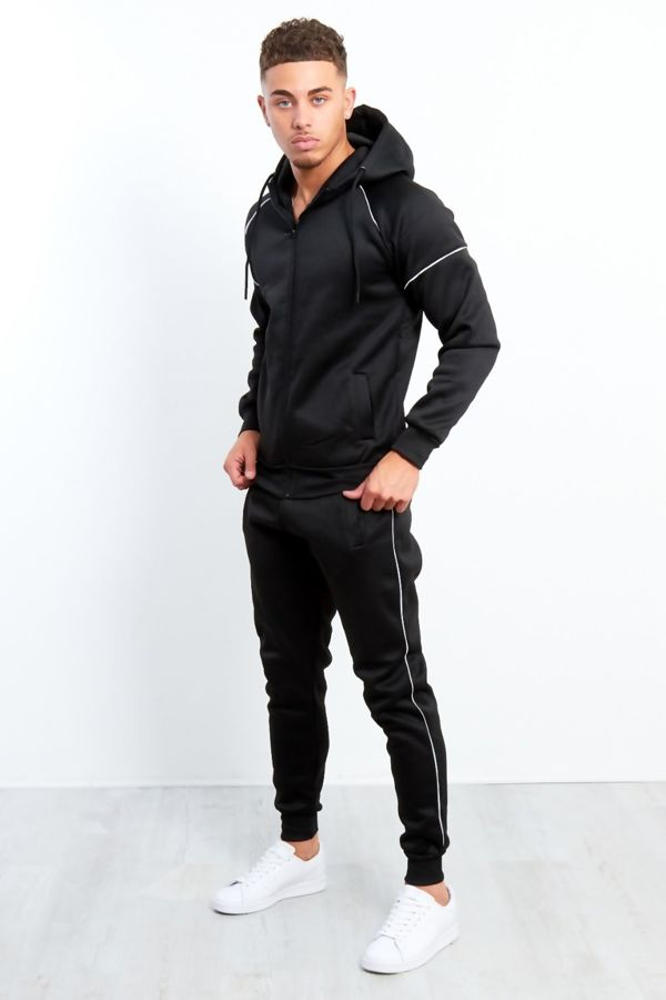 Black Zip Through Hooded Tracksuit