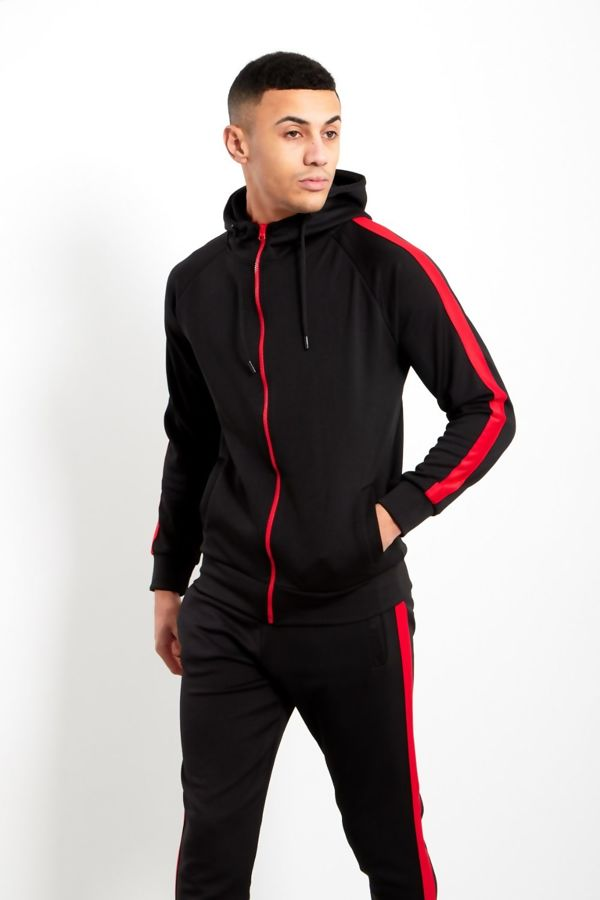 Black Zip Through Hooded Tracksuit With Red Stripe Detailing