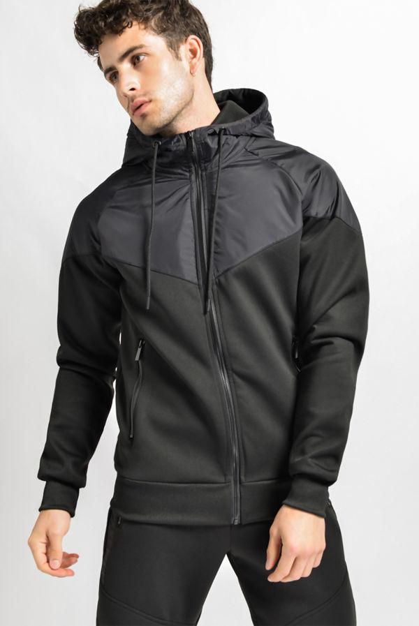 Black Zip Through Hybrid Hooded Tracksuit