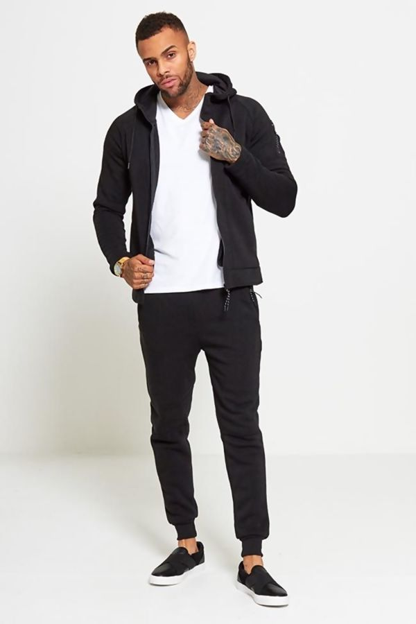 Black Zip Through Skinny Fit Hood Tracksuit