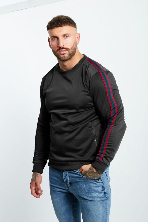 Black Zipped Pocket Front Striped Sleeve Jumper