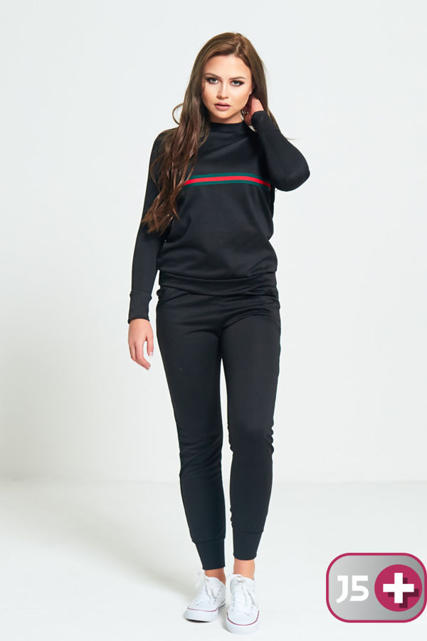 Plus Size Black with Red and Green Stripe Tracksuit