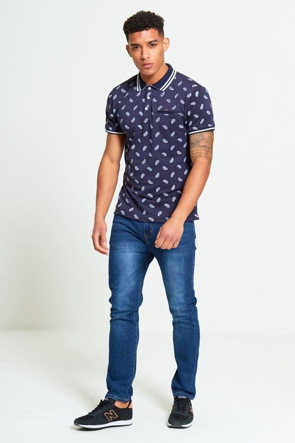 Blue Bandanna Pattern Polo Shirt