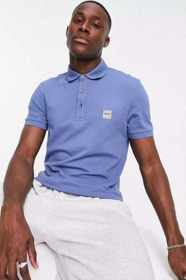 Blue BOSS Passenger Slim Fit Logo Polo