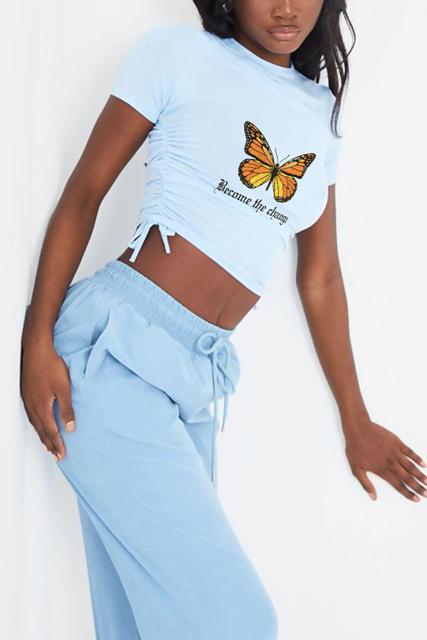 Blue Butterfly Print Ruched Side Crop T-Shirt