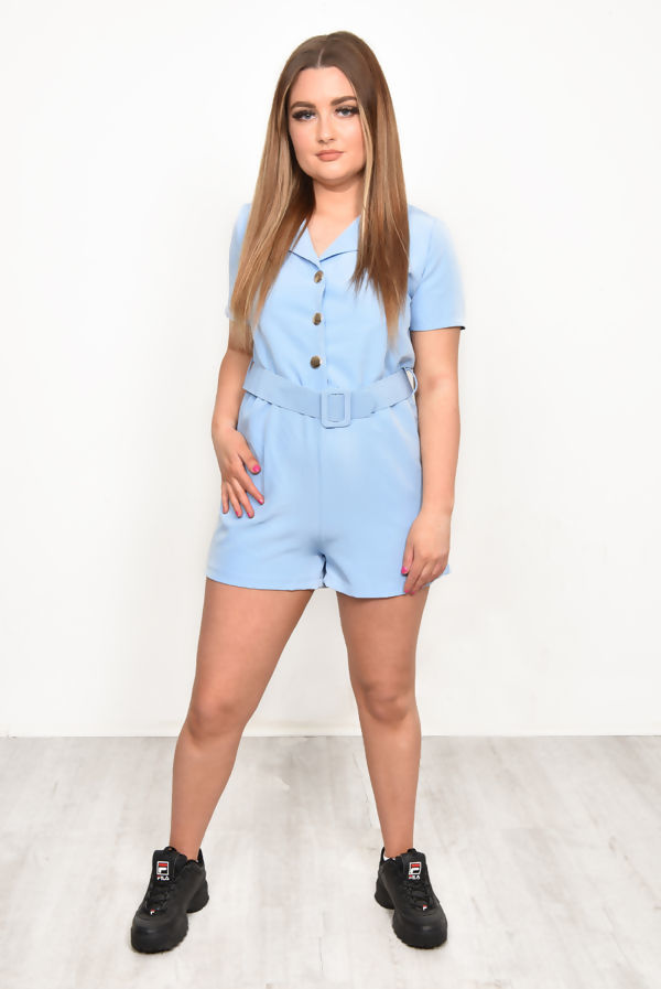 Baby Blue Button Up Belted Playsuit