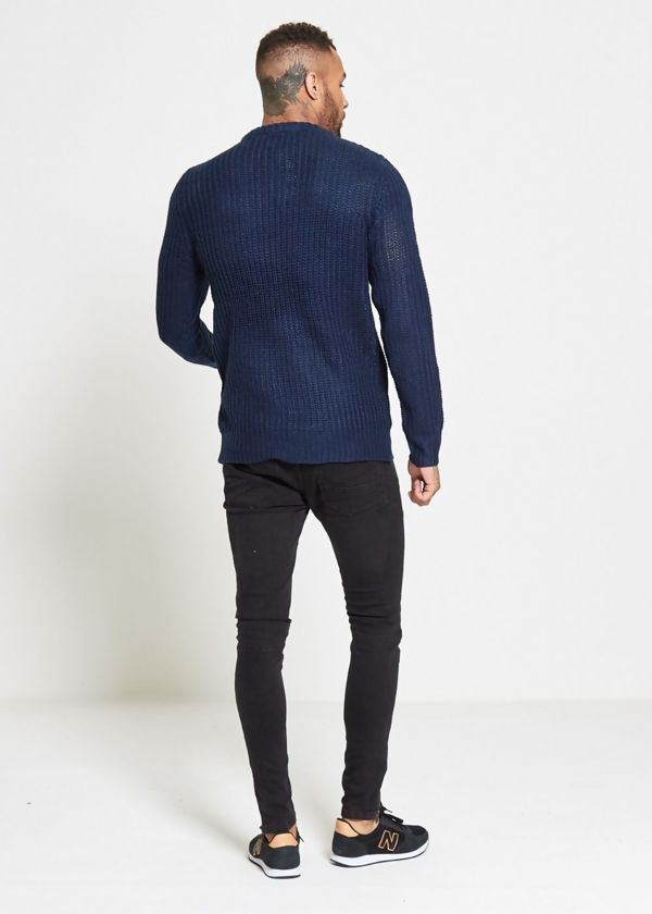Blue Chain Fine Knitted Jumper