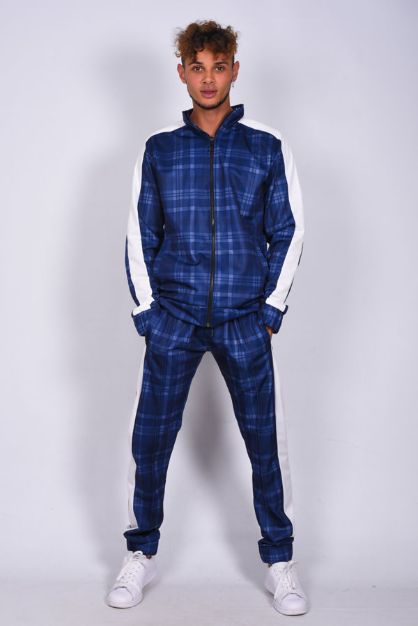 Blue Check Funnel Stripe Skinny Fit Tracksuit