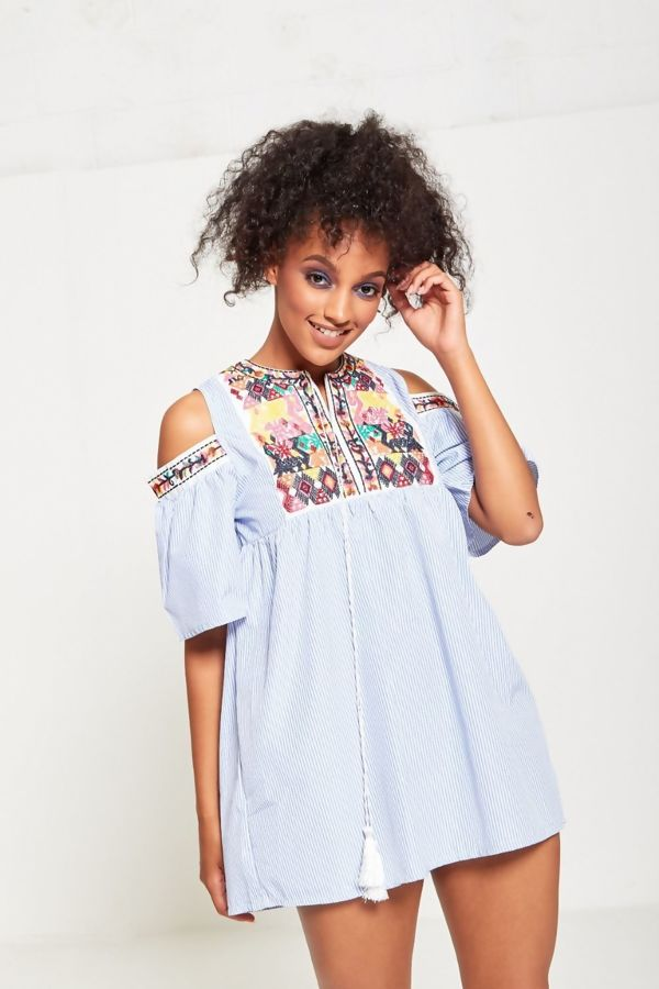Blue Cold Shoulder Striped Embroidered Mini Dress