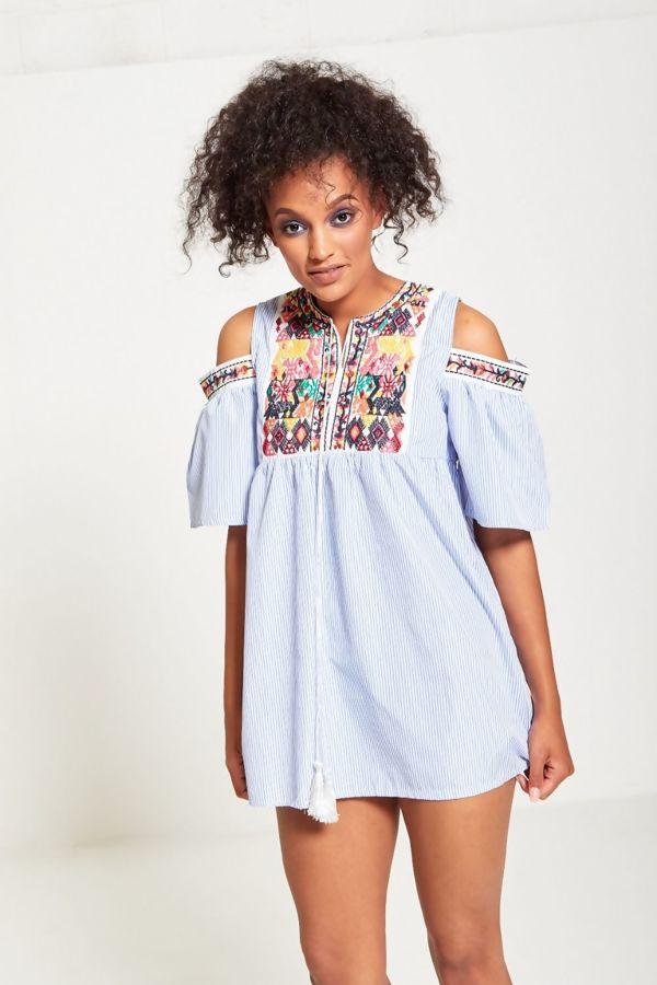 Blue Cold Shoulder Striped Embroidered Mini Dress