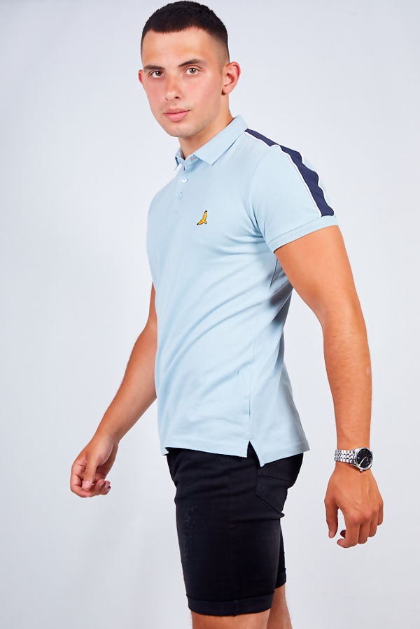 Blue Contrast Stripe Detail Polo Shirt