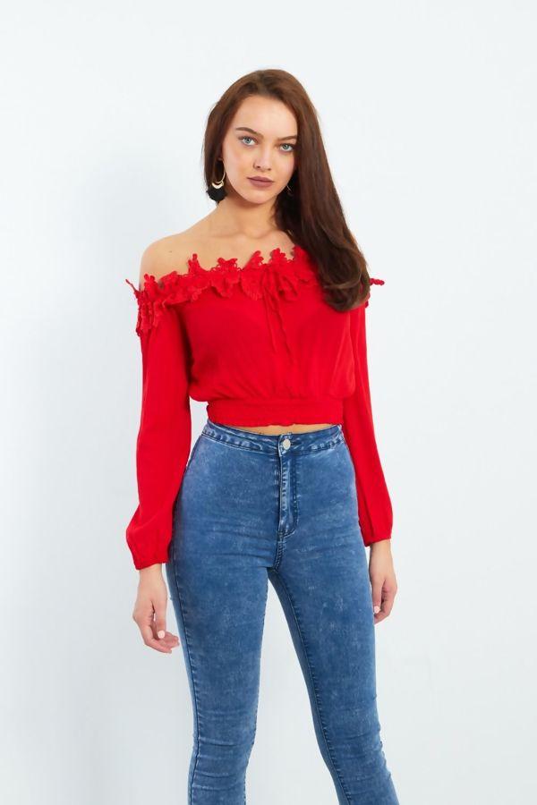 Blue Crochet Neckline Bardot Crop Top