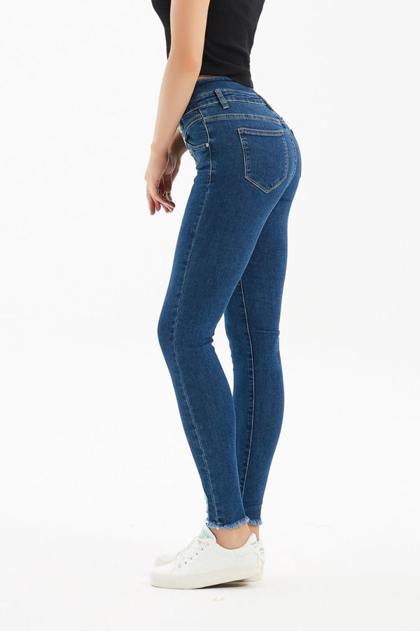 Blue Denim Corset High Waist Skinny Jeans
