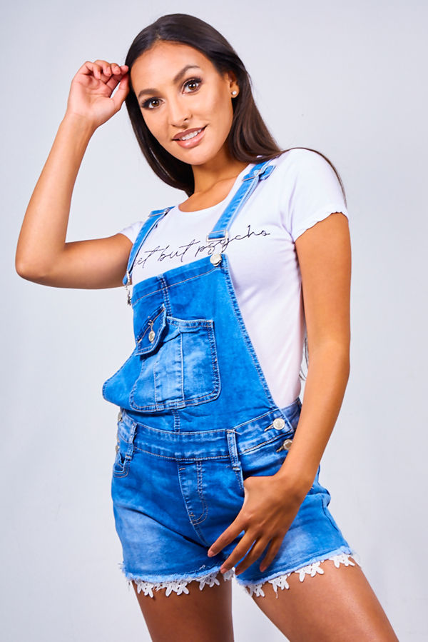 Blue Denim Crochet Hem Short Dungaree