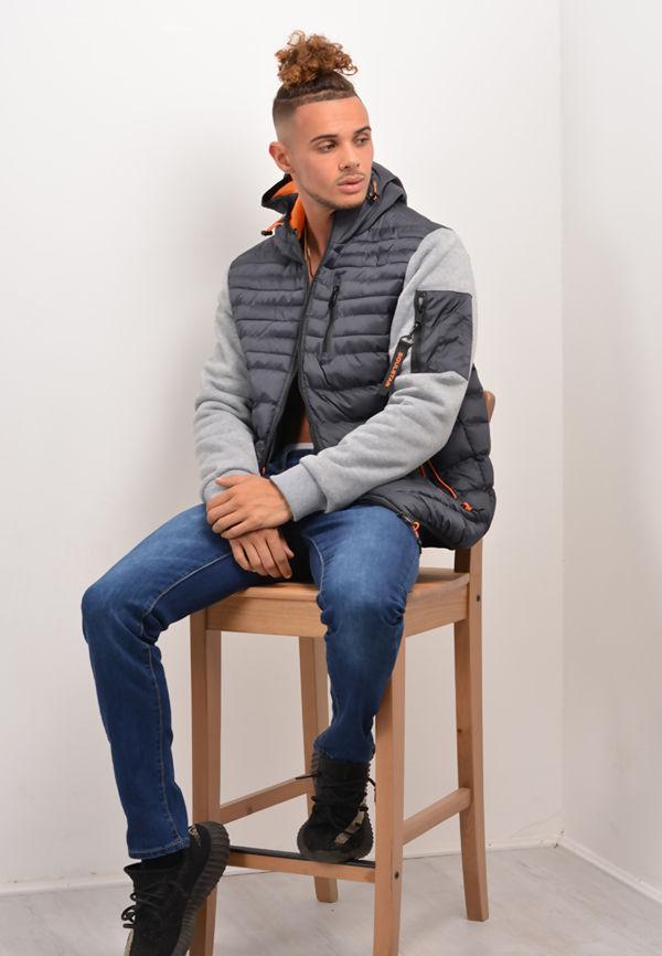 Fleece Sleeve Puffer Jacket